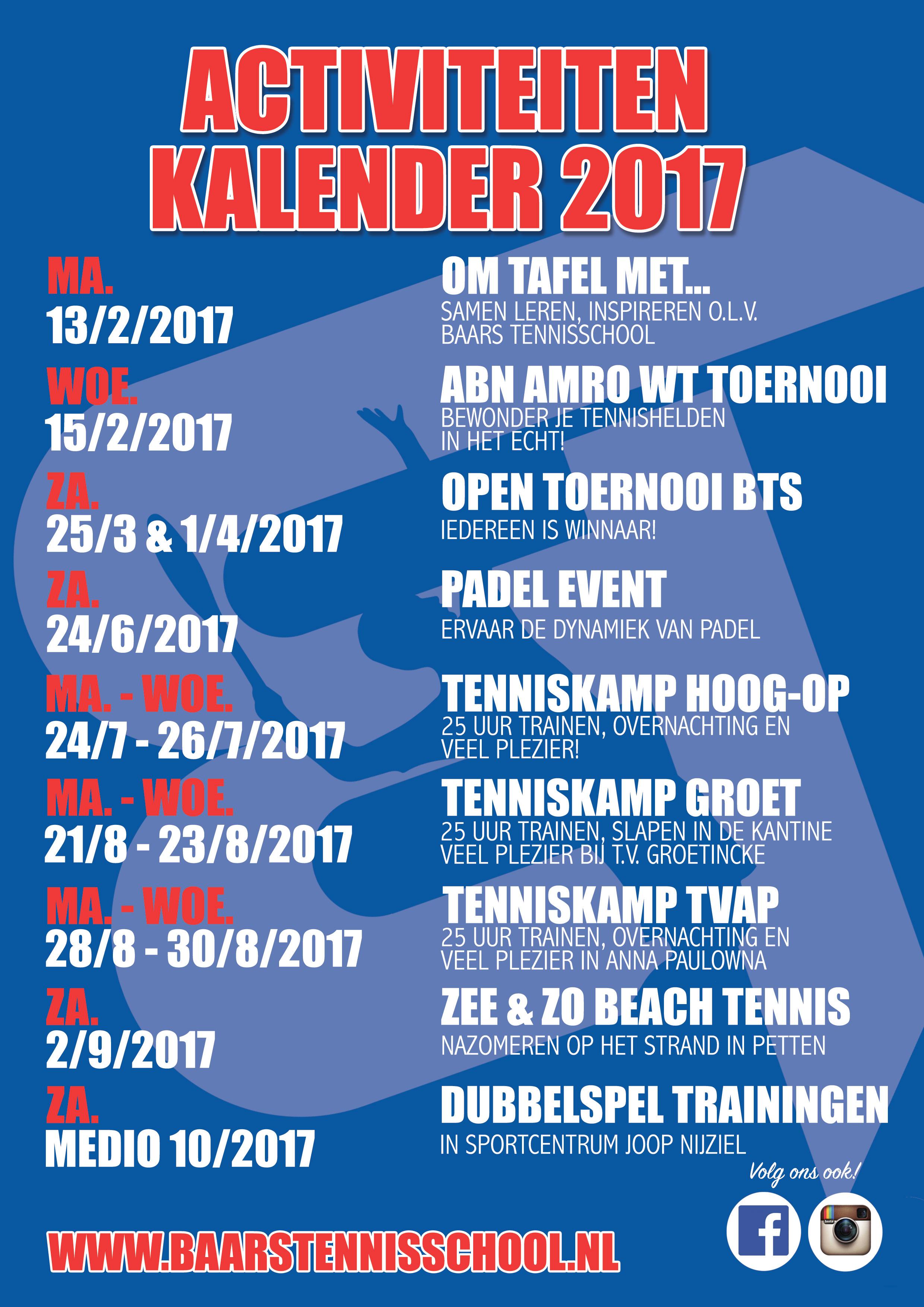 Activiteitenkalender Baars Tennisschool 2017