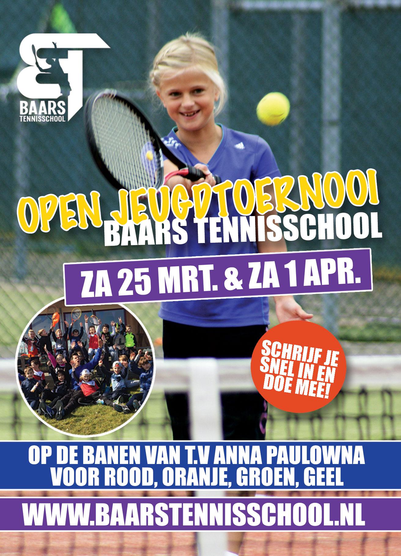 Flyer Open Jeugdtoernooi Baars Tennisschool 2017